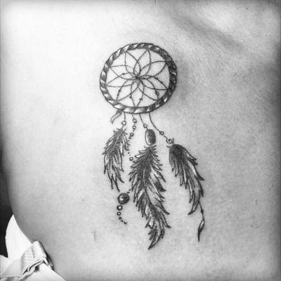 #dreamcatcher #smalltattoo #detailed #blackandgrey #inked #inklife #ink #tattoo #tattoolife #feathers #chesttattoo