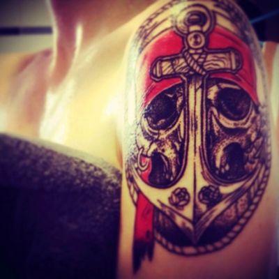 01.2015 #pirate #piratetattoo #skull #anchor #red #color #sea
