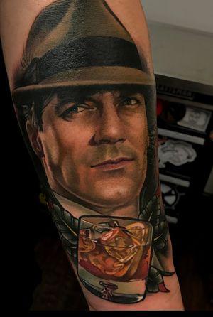Color realistic portrait of jon hamm as don draper frok the tv show madmen.