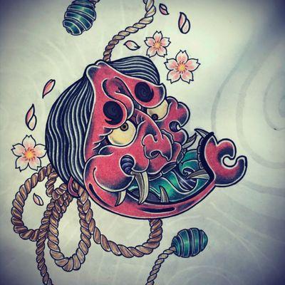 han'nya mask #traditionaltattoo #hannyatattoo #hannyamask #ainurmartintattoo