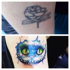 Cover up #CheshireTheCat #Acuarella #MordrakeInkTattoo @HugooxMordrakeInkTattoo #Tattoo #Scl #Chile #Barcelona #España