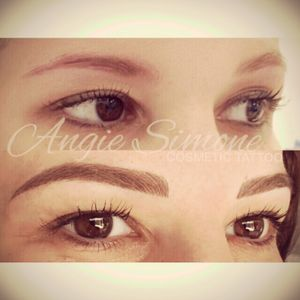 My before and after cosmetic eyebrow tattoo #angiesimone #goldcoastaustralia