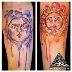 Tattoo by Lark Tattoo  artist Hannah Clock  #watercolor #watercolortattoo #sun #suntattoo #moon #moontattoo #tattoo #tattoos #tat #tats #tatts #tatted #tattedup #tattoist #tattooed #tattoooftheday #inked #inkedup #ink #tattoooftheday #amazingink #bodyart #tattooig #tattoososinstagram #instatats #westbury #larktattoowestbury #larktattoo #larktattoos