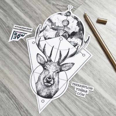Magical deer, expanding universe - custom tattoo design, download at www.rawaf.shop #deer #deertattoo #galaxy #galaxytattoo #geometrictattoo #dotwork #dotworktattoo #astronomy