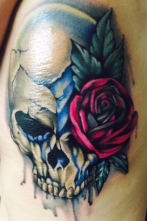Skull and Rose by Coral Petrie, Anchorage, AK #skulltattoo #skullandrose #womantattooartist