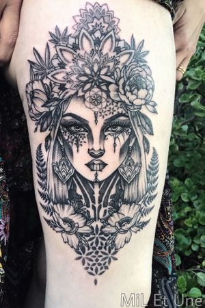 #floraltattoo #goddesstattoo #mothernature #ferntattoo #neotrad #neotraditionaltattoo #tattoodo #dotwork #mandala #mandalatattoo #sacredgeometry #hippie #australia #adelaide