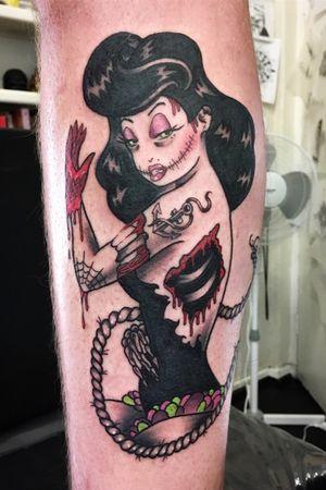 Retro pin up zombie girl on calf #pinupgirl #zombiegirl
