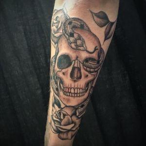 Thank you Gaige! Its always great to see you. #artist #tattoo #dotworktattoo #blackandgreytattoo #skulltattoo #snaketattoo #darkartists #armtattoo #coloradotattooartist #denvertattoo #bouldertattoo