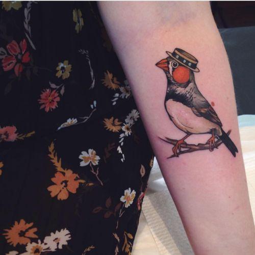 Cute little zebra finch with a tiny hat by Sophia Baughan 😍 Isn't it just perfect? #birdtattoo #color #hat #finch #zebrafinch #bird