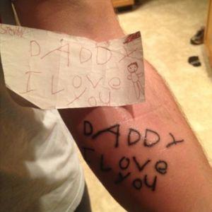 I want a man that does this! Good daddy! #tattooeddad #dad #childrens #handwritten