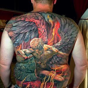 Done by @marcroytattooart #angel #colourtattoo #judaspriest #backpiecetattoo