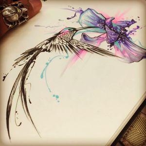 Future tattoo 😍 #hummingbird #orchid #watercolourflowers