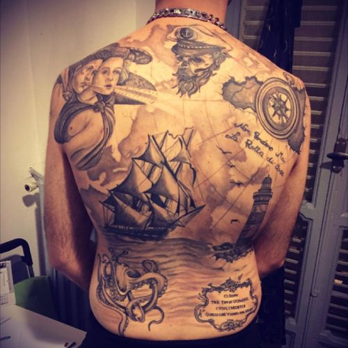 #blackandgrey #sailor #octopus #anchor #ship #angel #lighthouse #skull #sicily #compass #fullback