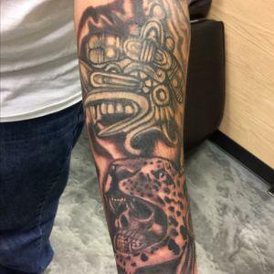 Aztec piece i added to a sleeve im working on #cricktattoos #workhorseironswest #blackstalliongreywash