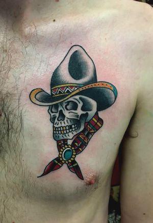 #cowboy #skull #traditionaltattoos #traditionaltattoo