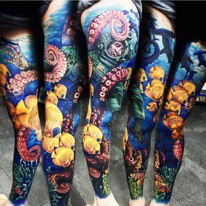 Artist #AlexRattray #ocean #fish #octopus #fullleg