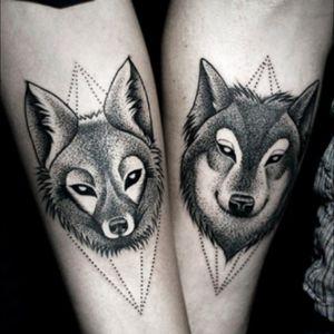 #couple #couplestattoo #wolf