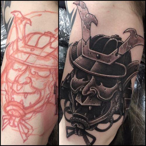 Drawn on #Kabuto at the Bristol tattoo convention!! #samurai #warrior #freehandtattoo #irezumi #blackandgreytattoo #japanesetattoo #samuraiwarrior #fudoshintattoos