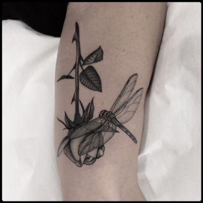 #black #rose #dragonfly #tattoo #blackwork #totemica #ontheroad
