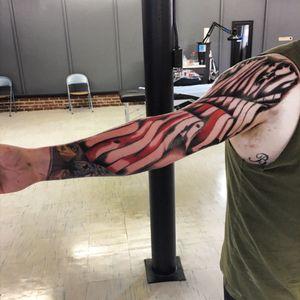 Progress on my flag #murica #veteran #yesithurt #cheyennehawk #sleeve #memorial