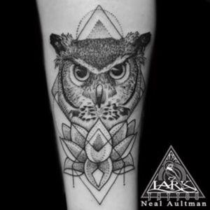 Tattoo by Lark Tattoo artist Neal Aultman   #owl #lotus #owllotus #owltattoo #lotustattoo #owllotustattoo #geometrictattoo #linesanddots #blackwork #blackworkers #blackworktattoo #tattoo #tattoos #tat #tats #tatts #tatted #tattedup #tattoist #tattooed #tattoooftheday #inked #inkedup #tattoooftheday #amazingink #bodyart #tattooig #tattoososinstagram #instatats
