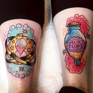 #SamanthaPixieRobson also did this lovely pair on the back of my ankles #liverpooltattoo #HarryPotterTattoos #timeturner #felixfelicis #ankle