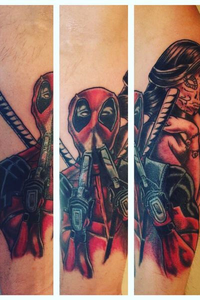 Deadpool/ Marvel sleeve. This is just the begining of the sleeve! #tattooartist #tattooart #colortattoo #NewSchoolArtist #newschool #skinhousestudio #coloradotattooartist #eternalink #Deadpool #deadpooltattoo #marvel #MarvelTattoo #TattooSleeve