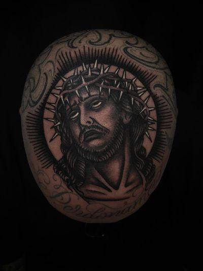 #jesus #traditionaltattoo #blackandgrey #ochoplacastattoo #miami #javierbetancourt #religious #head #headtattoo