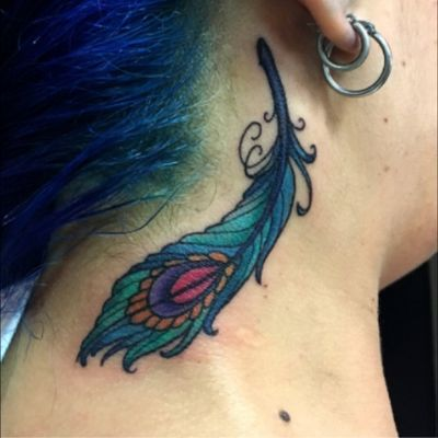 Custom neotraditionsl peacock feather. Would love to do more like this! Email me at burke.brigid@gmail.com #neotraditional #neotrad #neotraditionaltattoo #feathertattoo #peacock #peacockfeather #peacocktattoo #color #colortattoo #necktattoo #feather