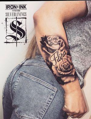Sleeve in progress. #roses #name #realistic #blackandgrey #nametattoo #feminin