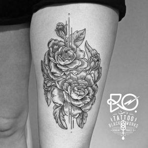 By RO. Robert Pavez • Line peonies flowers • #engraving #dotwork #etching #dot #linework #geometric #ro #blackwork #blackworktattoo