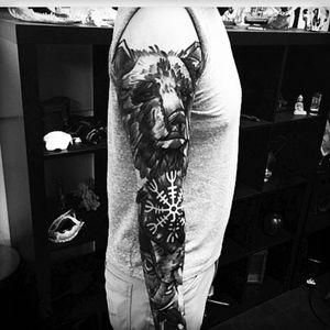 Very cool! Unknown artist #bear #sketchstyletattoo #sleeve