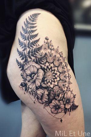 #floraltattoo #mandala #mandalatattoo #dotwork #miletune #adelaide #australia #geometrictattoo #blackandgrey #ornamentaltattoo #ferntattoo