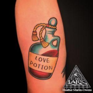 Tattoo by Lark Tattoo  artist Heather Martin-Owens  #tattoo #tattoos #love #lovepotion #lovetattoo #lovepotiontattoo #tattoo #colortattoo #tat #tats #tatts #tatted #tattedup #tattoist #tattooed #tattoooftheday #inked #inkedup #ink #tattoooftheday #amazingink #bodyart #tattooig #tattoosofinstagram #instatats  #larktattoo #larktattoos #larktattoowestbury