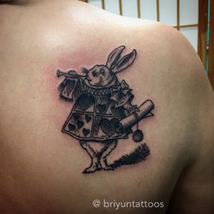 "Fun illistrative white rabbit from the novel "" Alice in Wonderland "" #rabbit #aliceinwonderland #illistration #crossstitch #lineart #lines #finelines #tattoo #bng #blackandgrey #blackwork #tattoos #crosshatch #shoulder #shouldertattoo #shoulderblade #neworleans"