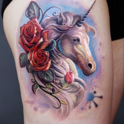 #tattoodo#tattoodoAPP#unicorn #colorful#shanghai#chineseartist #rose