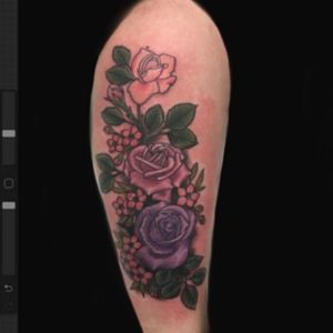 Cover up roses on lower leg #coverup #rose #rosetattoo #colortattoo #neotradtattoo
