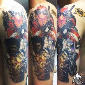 Marvel super hero #dskttattoo #deadpool #wolverine #marvel #sleeve #arm #captanamerica #superherotattoo #cartoontattoo