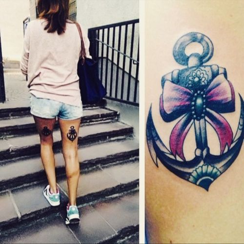Old me on the ground... #anchor #oldschool #colorfull #girlstattoo #bordeaux #and #grey #loop #madein #frankfurt #germany #2015 #byinga #draufunddran