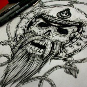 #ocean #salior #sea #skeleton #blackandwhite #anchor #death