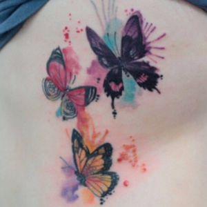 Watercolor butterflies . #butterflytattoo #Butterflies #watercolortattoo #watercolorbutterfly #aquarela #borboleta #dehtattoo