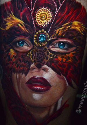 Women in masquerade mask