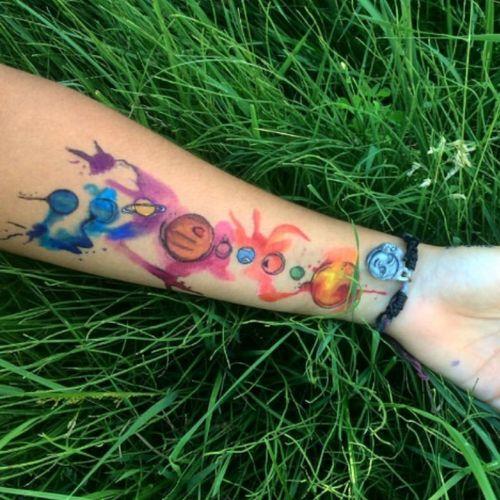 #galaxy #watercolor #watercolortattoo #temporarytattoos #temporary #universe #planets #forearm #Sharpies