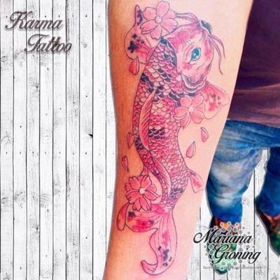 Koi fish tattoo #tattoo #tatuaje #color #mexicocity #marianagroning #tatuadora #karmatattoo #awesome #colortattoo #tatuajes #claveria #ciudaddemexico #cdmx #tattooartist #tattooist #koi #japanese #pezkoi #koifish #japanesetattoo