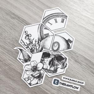 Still life with clock, skull and flowers - download this design or submit a commission form and I'll design you a completely custom one: www.rawaf.shop #skulltattoo #clocktattoo #flowertattoo #hexagontattoo #dotworktattoo #skull #clock #flower #geometrictattoo #dotwork #hexagon