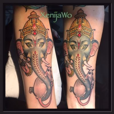Eternal ink, my design #neotrad #neotraditional #neotraditionaltattoo #neotraditionaltattoos #neotradsub #NeoTraditionalArtists #ganesha #ganeshatattoo #lordganesha #colortattoo