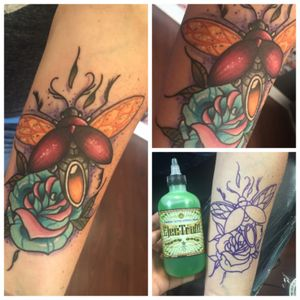 Made this before going to MAGMA con, super rad beetle kn a really cool client #tats #tattoos #tattoo #art #ink #guyswithink #girlswithink #plugs #beard #phucstyxtattoosupply #steelfangstattoosupply #pridetattooneedles #electrumstencilprimer #electrum #workingclassmetals #teammedieval #teamelectrum
