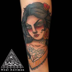Tattoo by Lark Tattoo  artist Neal Aultman  #tradionaltattoo #traditionalgirl #traditionalgirlhead #traditionalgirlheadtattoo #tattoo #tattoos #tat #tats #tatts #tatted #tattedup #tattoist #tattooed #tattoooftheday #inked #inkedup #ink #tattoooftheday #amazingink #bodyart #tattooig #tattoososinstagram #instatats #westbury #larktattoowestbury #larktattoo #larktattoos #art