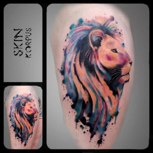 #watercolor #watercolortattoo #lion #liontattoo #animal made @ #absolutink by #skinkorpus #watercolorartist #tattooartist