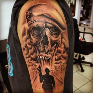 From Copiapo, Chile. Created and madd by Ignacio Aliaga. Tercera Legion on instagram and facebook. #terceralegiontattoo #3l #soldier #military #blackandgrey #postapocalyptic #skull